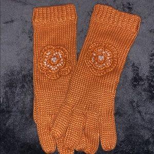 Anthropologie Orange Winter Gloves